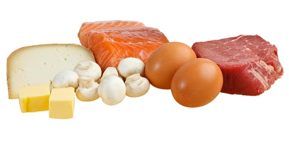 Food sources of vitamin D, including fish, meat, eggs, dairy and mushrooms