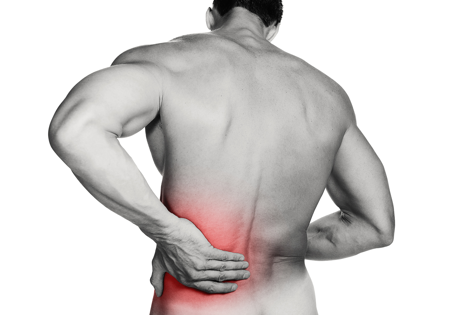 Black and white photo of a muscular man with a backache. Red selective color further illustrates pain. Clipping path included so image can be easily transferred to a different colored background.